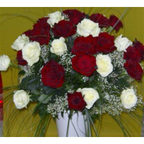 Bouquet of 24 Long Stemmed White and Red Roses